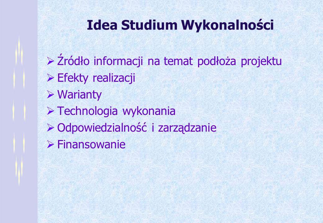 Idea Studium Wykonalności Źródło informacji na temat podłoża projektu Efekty realizacji Warianty Technologia wykonania Odpowiedzialność i zarządzanie