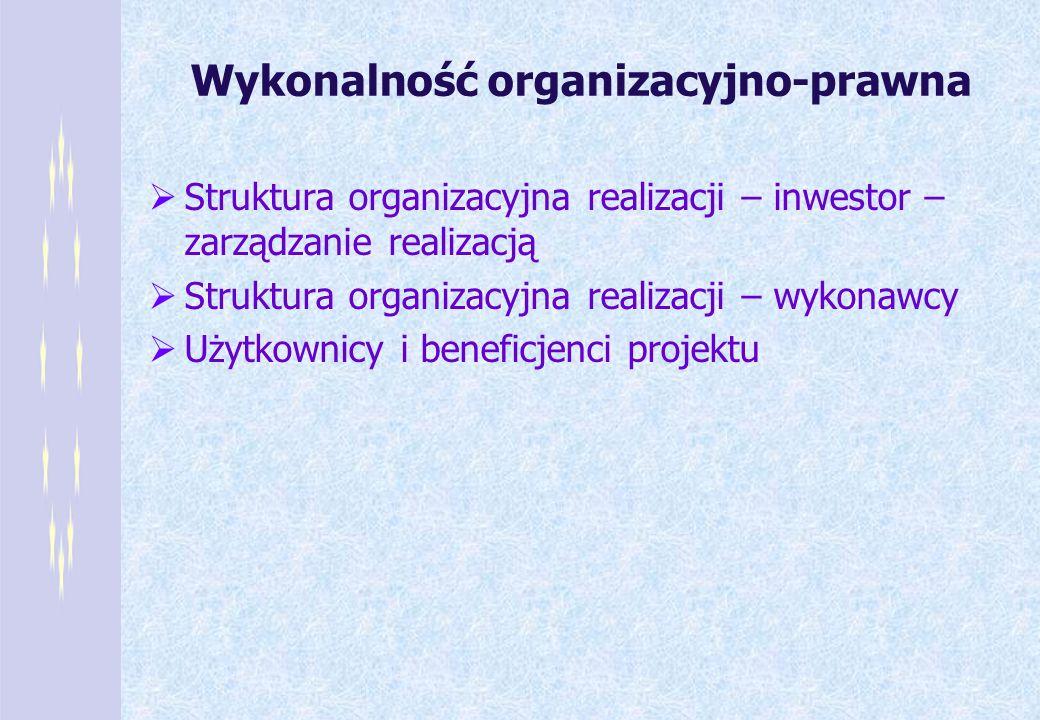 Wykonalność organizacyjno-prawna Struktura organizacyjna realizacji – inwestor – zarządzanie realizacją Struktura organizacyjna realizacji – wykonawcy