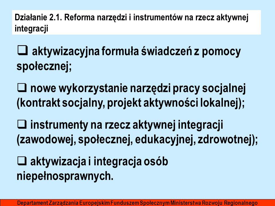Działanie 2.1. Reforma narzędzi i instrumentów na rzecz aktywnej integracji aktywizacyjna formuła świadczeń z pomocy społecznej; nowe wykorzystanie na