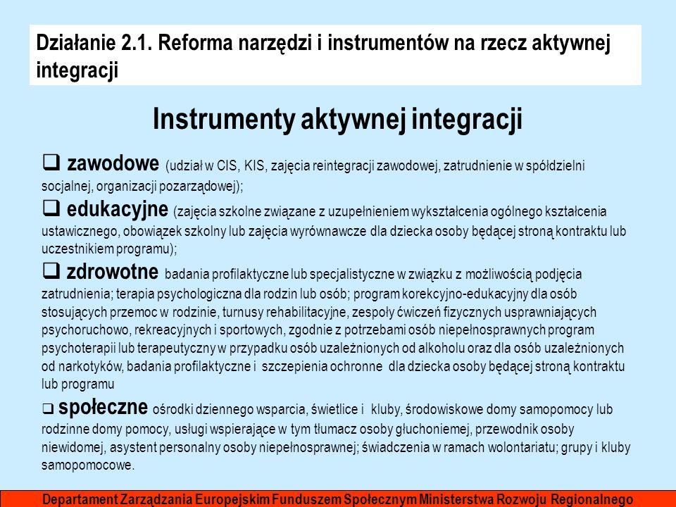 Działanie 2.1. Reforma narzędzi i instrumentów na rzecz aktywnej integracji Departament Zarządzania Europejskim Funduszem Społecznym Ministerstwa Rozw