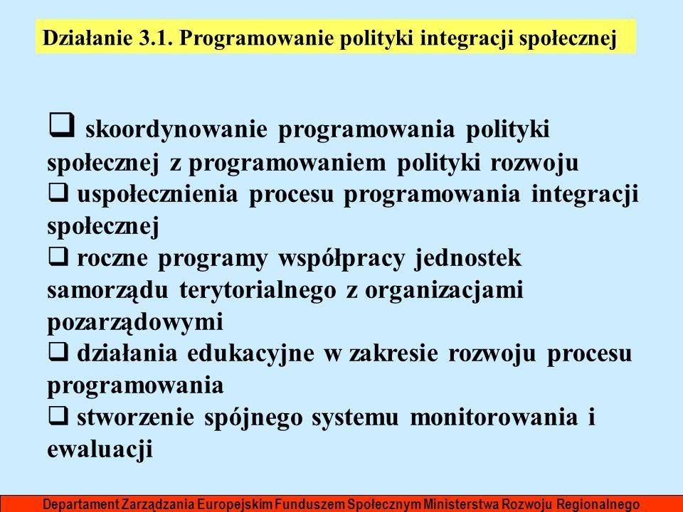 Departament Zarządzania Europejskim Funduszem Społecznym Ministerstwa Rozwoju Regionalnego Działanie 3.1. Programowanie polityki integracji społecznej
