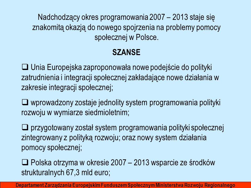 Nadchodzący okres programowania 2007 – 2013 staje się znakomitą okazją do nowego spojrzenia na problemy pomocy społecznej w Polsce. SZANSE Unia Europe