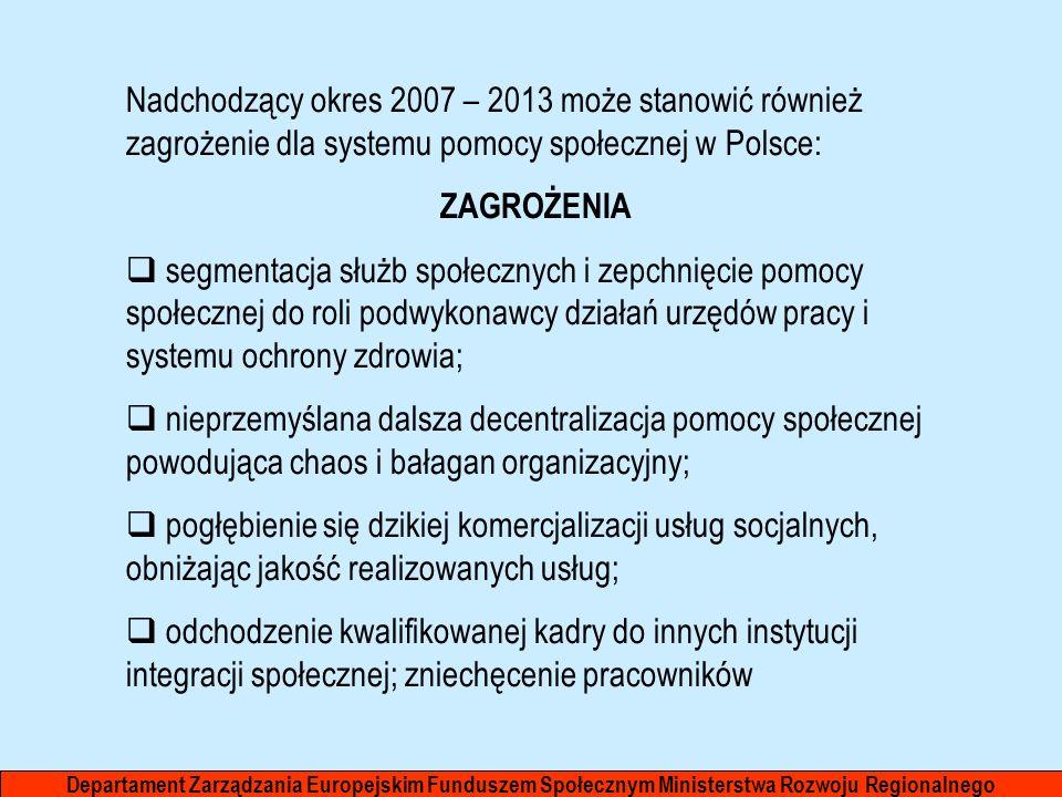 Nadchodzący okres 2007 – 2013 może stanowić również zagrożenie dla systemu pomocy społecznej w Polsce: ZAGROŻENIA segmentacja służb społecznych i zepc