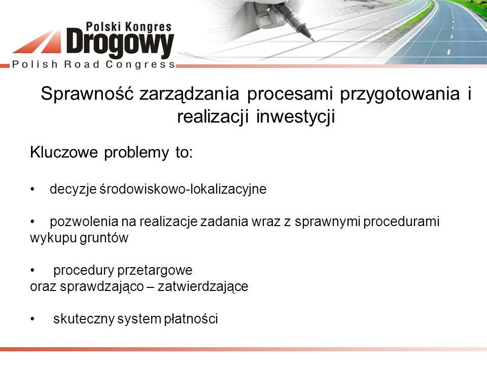 Sprawność zarządzania procesami przygotowania i realizacji inwestycji Kluczowe problemy to: decyzje środowiskowo-lokalizacyjne pozwolenia na realizacj