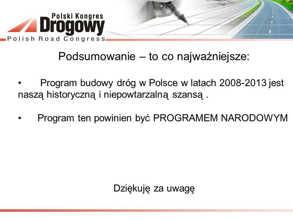 Podsumowanie – to co najważniejsze: Program budowy dróg w Polsce w latach 2008-2013 jest naszą historyczną i niepowtarzalną szansą. Program ten powini