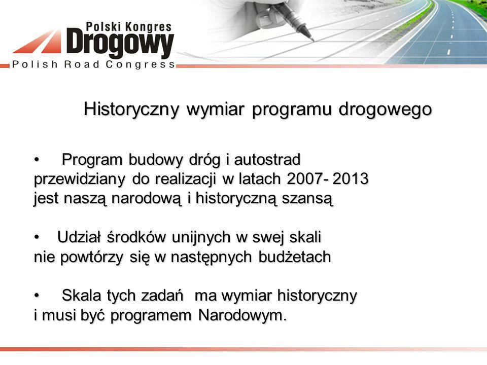 Historyczny wymiar programu drogowego Program budowy dróg i autostrad Program budowy dróg i autostrad przewidziany do realizacji w latach 2007- 2013 j