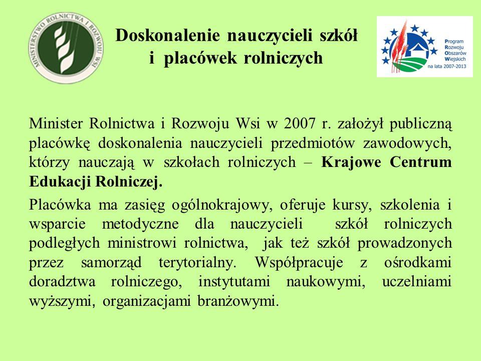 Doskonalenie nauczycieli szkół i placówek rolniczych Minister Rolnictwa i Rozwoju Wsi w 2007 r. założył publiczną placówkę doskonalenia nauczycieli pr