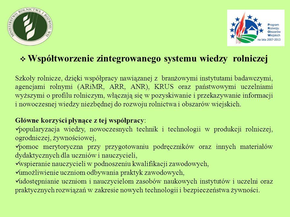 Współtworzenie zintegrowanego systemu wiedzy rolniczej Szkoły rolnicze, dzięki współpracy nawiązanej z branżowymi instytutami badawczymi, agencjami ro