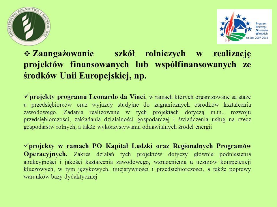 Zaangażowanie szkół rolniczych w realizację projektów finansowanych lub współfinansowanych ze środków Unii Europejskiej, np. projekty programu Leonard