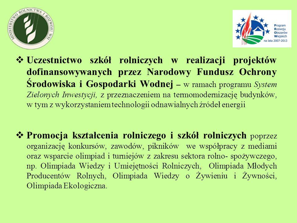 Uczestnictwo szkół rolniczych w realizacji projektów dofinansowywanych przez Narodowy Fundusz Ochrony Środowiska i Gospodarki Wodnej – w ramach progra