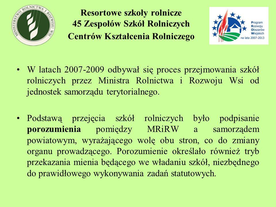 Resortowe szkoły rolnicze 45 Zespołów Szkół Rolniczych Centrów Kształcenia Rolniczego W latach 2007-2009 odbywał się proces przejmowania szkół rolnicz