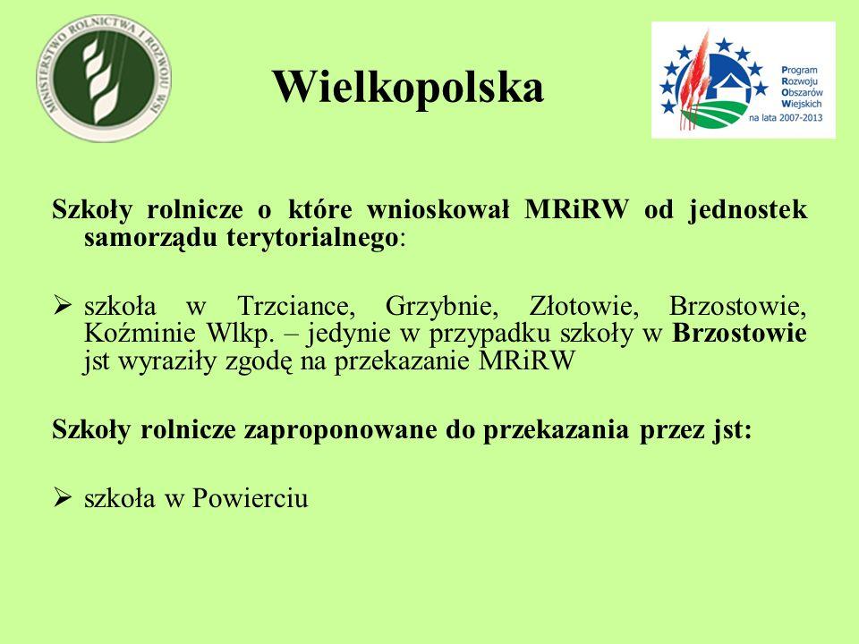 Wielkopolska Szkoły rolnicze o które wnioskował MRiRW od jednostek samorządu terytorialnego: szkoła w Trzciance, Grzybnie, Złotowie, Brzostowie, Koźmi