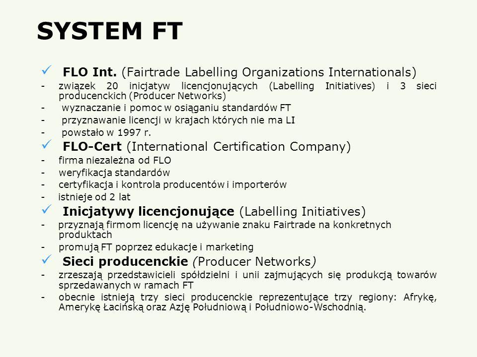 SYSTEM FT FLO Int. (Fairtrade Labelling Organizations Internationals) -związek 20 inicjatyw licencjonujących (Labelling Initiatives) i 3 sieci produce