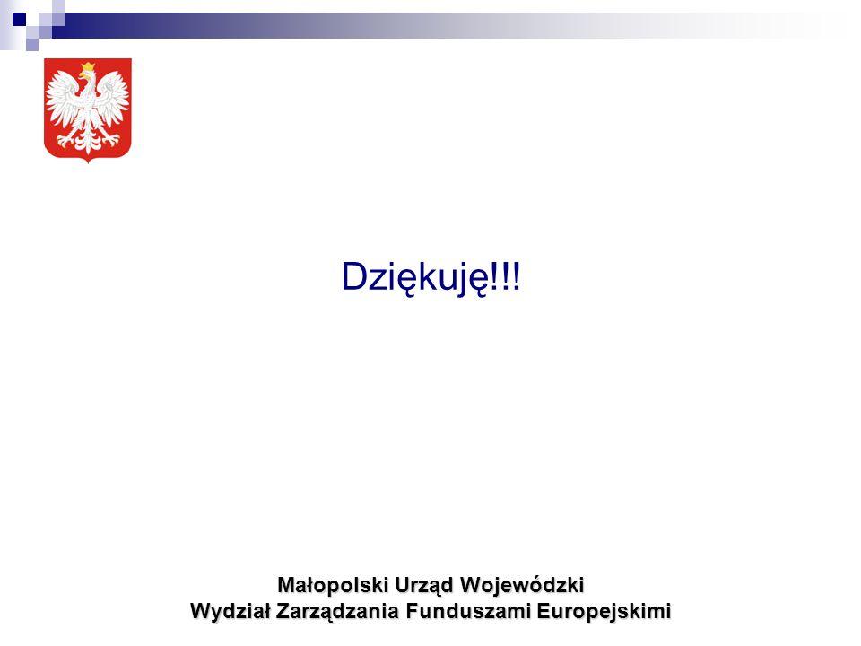 Małopolski Urząd Wojewódzki Wydział Zarządzania Funduszami Europejskimi Dziękuję!!!