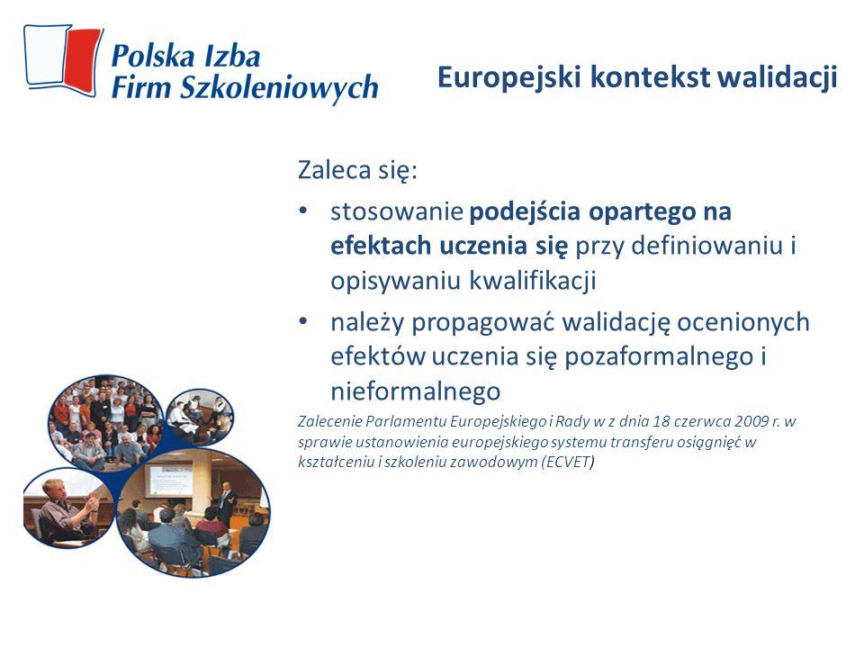 Europejski kontekst walidacji Zaleca się: stosowanie podejścia opartego na efektach uczenia się przy definiowaniu i opisywaniu kwalifikacji należy