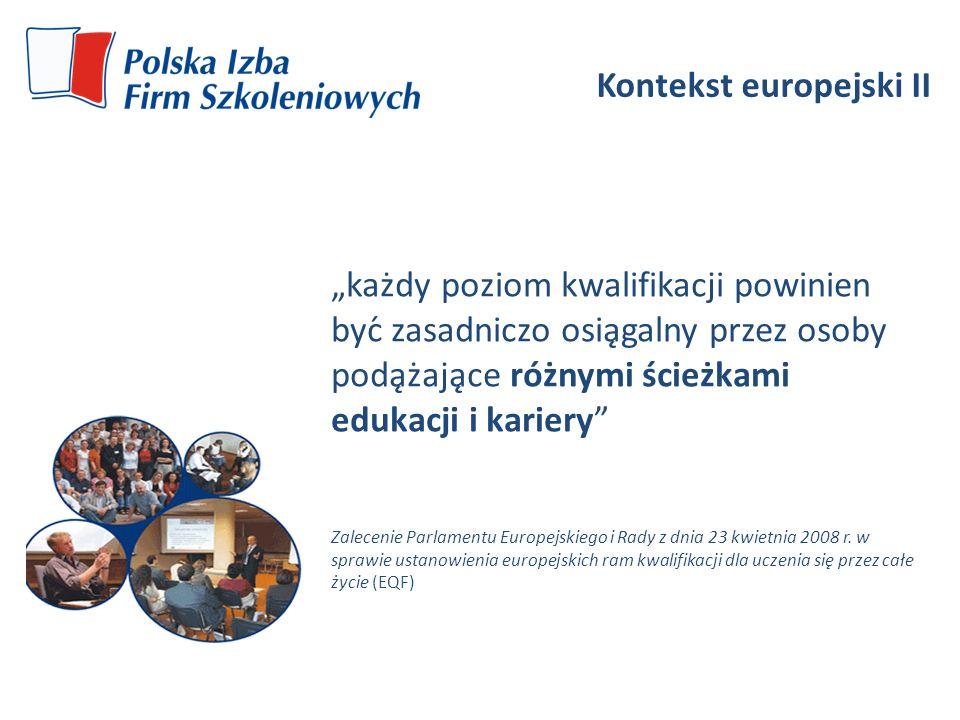 Kontekst europejski II każdy poziom kwalifikacji powinien być zasadniczo osiągalny przez osoby podążające różnymi ścieżkami edukacji i karier