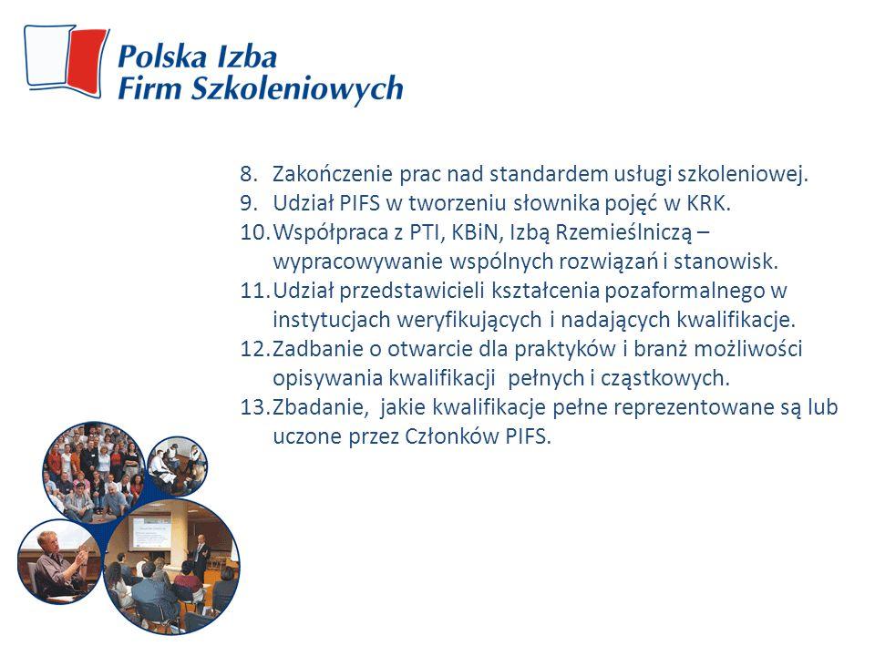 8.Zakończenie prac nad standardem usługi szkoleniowej. 9.Udział PIFS w tworzeniu słownika pojęć w KRK. 10.Współpraca z PTI, KBiN, Izbą Rzemieślniczą –