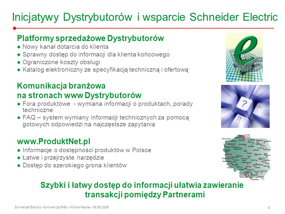 Schneider Electric 5 - Konwencja SHE – Michał Patoła – 09.05.2008 Inicjatywy Dystrybutorów i wsparcie Schneider Electric Platformy sprzedażowe Dystryb