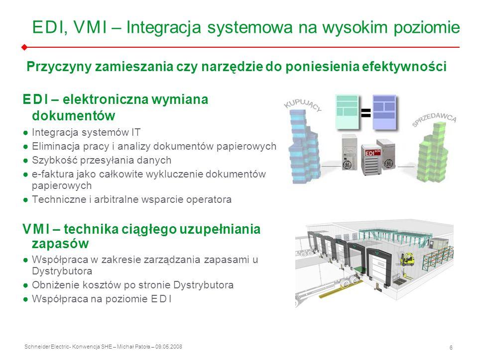 Schneider Electric 6 - Konwencja SHE – Michał Patoła – 09.05.2008 E D I, V M I – Integracja systemowa na wysokim poziomie E D I – elektroniczna wymian