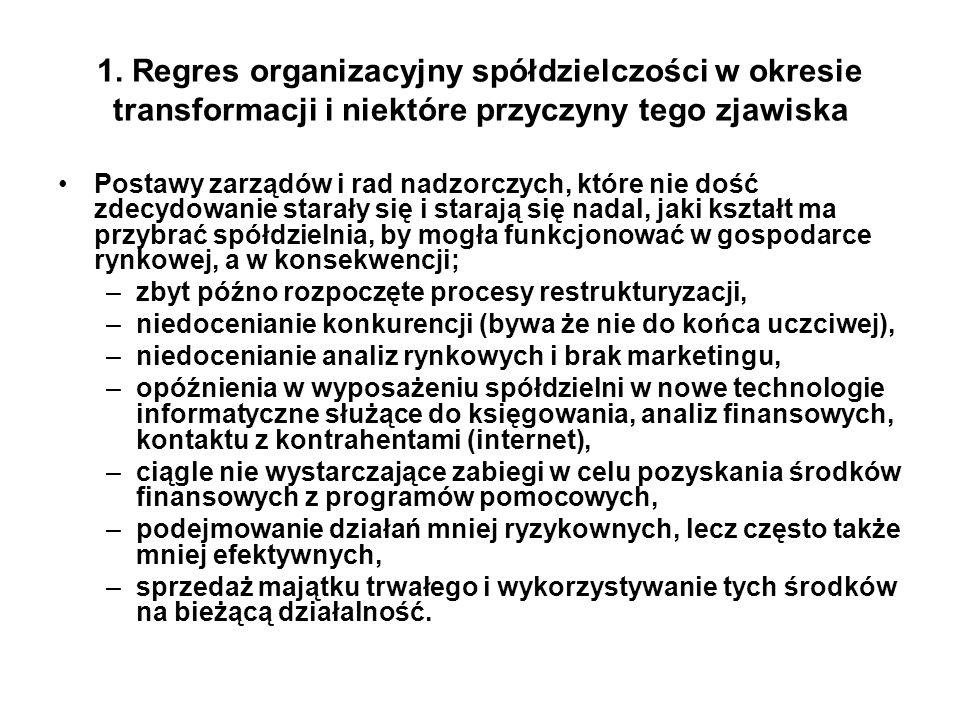 1. Regres organizacyjny spółdzielczości w okresie transformacji i niektóre przyczyny tego zjawiska Postawy zarządów i rad nadzorczych, które nie dość
