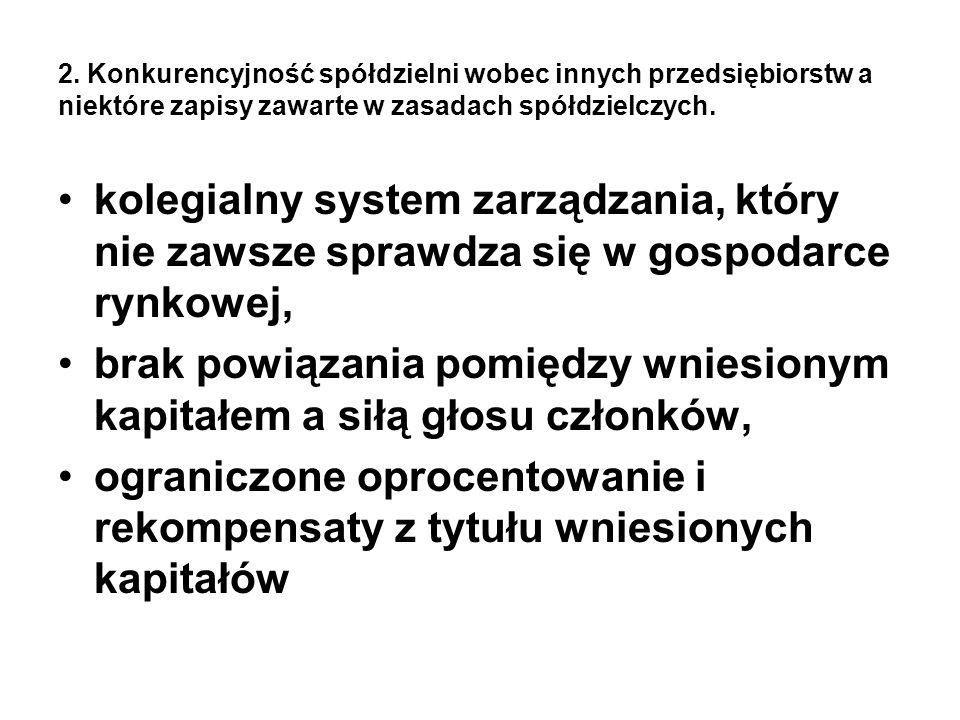 2. Konkurencyjność spółdzielni wobec innych przedsiębiorstw a niektóre zapisy zawarte w zasadach spółdzielczych. kolegialny system zarządzania, który
