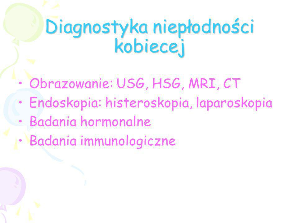 Diagnostyka niepłodności kobiecej Obrazowanie: USG, HSG, MRI, CT Endoskopia: histeroskopia, laparoskopia Badania hormonalne Badania immunologiczne