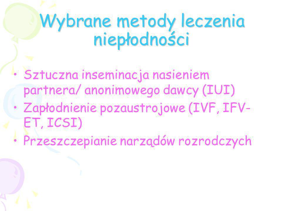 Wybrane metody leczenia niepłodności Sztuczna inseminacja nasieniem partnera/ anonimowego dawcy (IUI) Zapłodnienie pozaustrojowe (IVF, IFV- ET, ICSI)