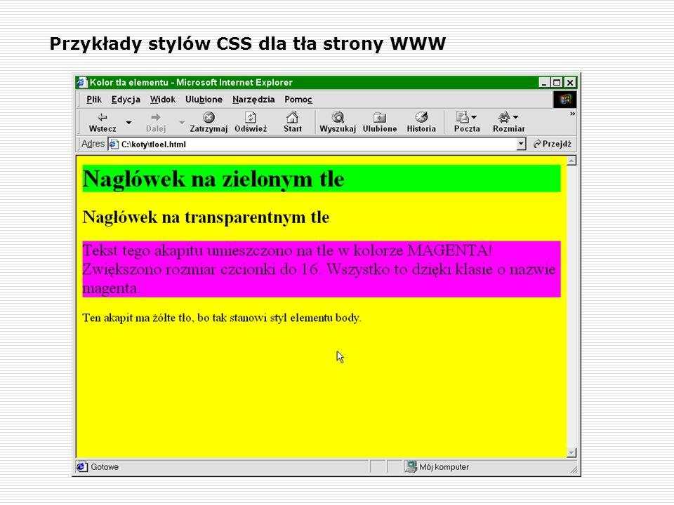 Przykłady stylów CSS dla tła strony WWW