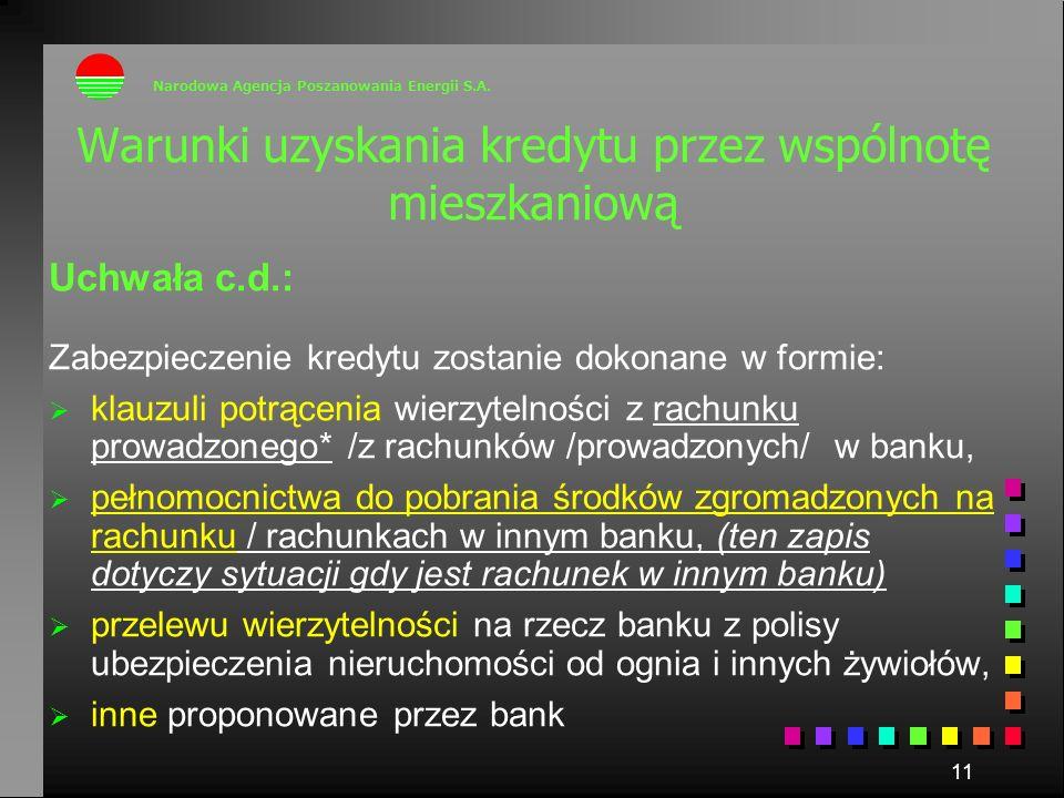 11 Uchwała c.d.: Zabezpieczenie kredytu zostanie dokonane w formie: klauzuli potrącenia wierzytelności z rachunku prowadzonego* /z rachunków /prowadzo