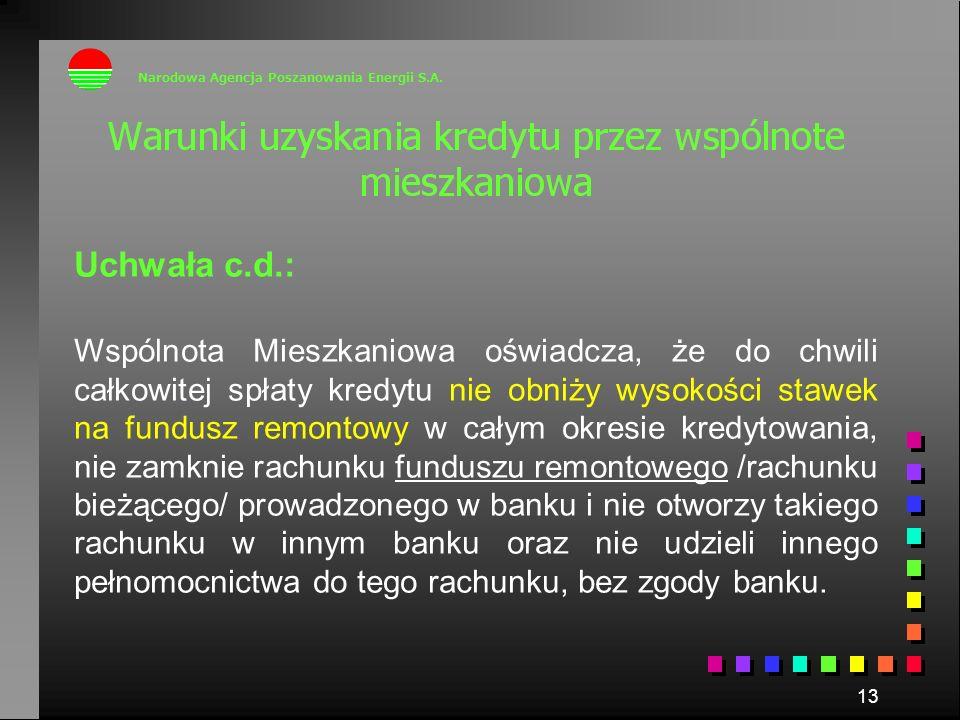 13 Uchwała c.d.: Wspólnota Mieszkaniowa oświadcza, że do chwili całkowitej spłaty kredytu nie obniży wysokości stawek na fundusz remontowy w całym okr