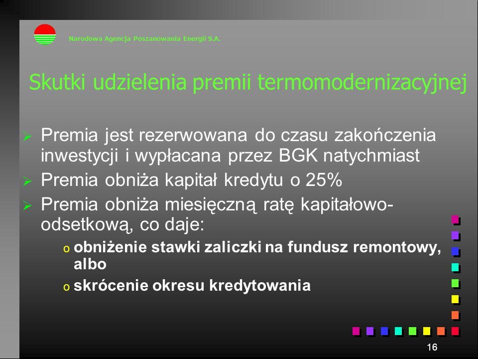 16 Skutki udzielenia premii termomodernizacyjnej Premia jest rezerwowana do czasu zakończenia inwestycji i wypłacana przez BGK natychmiast Premia obni