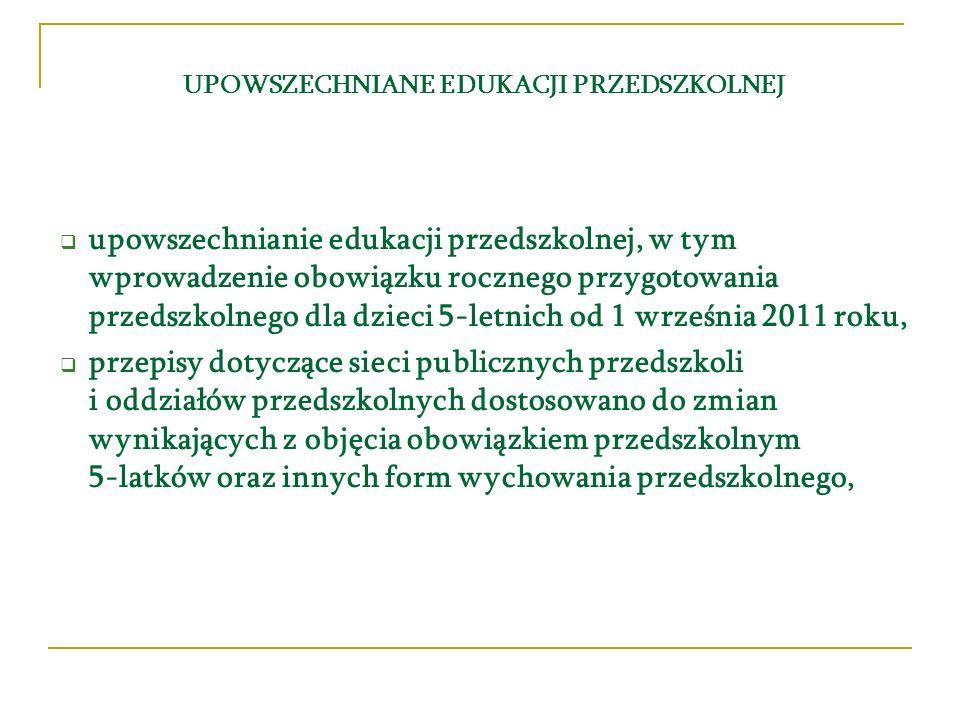 UPOWSZECHNIANE EDUKACJI PRZEDSZKOLNEJ upowszechnianie edukacji przedszkolnej, w tym wprowadzenie obowiązku rocznego przygotowania przedszkolnego dla d