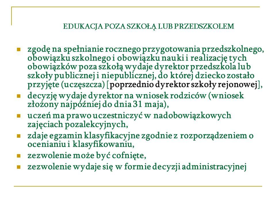 EDUKACJA POZA SZKOŁĄ LUB PRZEDSZKOLEM zgodę na spełnianie rocznego przygotowania przedszkolnego, obowiązku szkolnego i obowiązku nauki i realizację tych obowiązków poza szkołą wydaje dyrektor przedszkola lub szkoły publicznej i niepublicznej, do której dziecko zostało przyjęte (uczęszcza) [poprzednio dyrektor szkoły rejonowej], decyzję wydaje dyrektor na wniosek rodziców (wniosek złożony najpóźniej do dnia 31 maja), uczeń ma prawo uczestniczyć w nadobowiązkowych zajęciach pozalekcyjnych, zdaje egzamin klasyfikacyjne zgodnie z rozporządzeniem o ocenianiu i klasyfikowaniu, zezwolenie może być cofnięte, zezwolenie wydaje się w formie decyzji administracyjnej