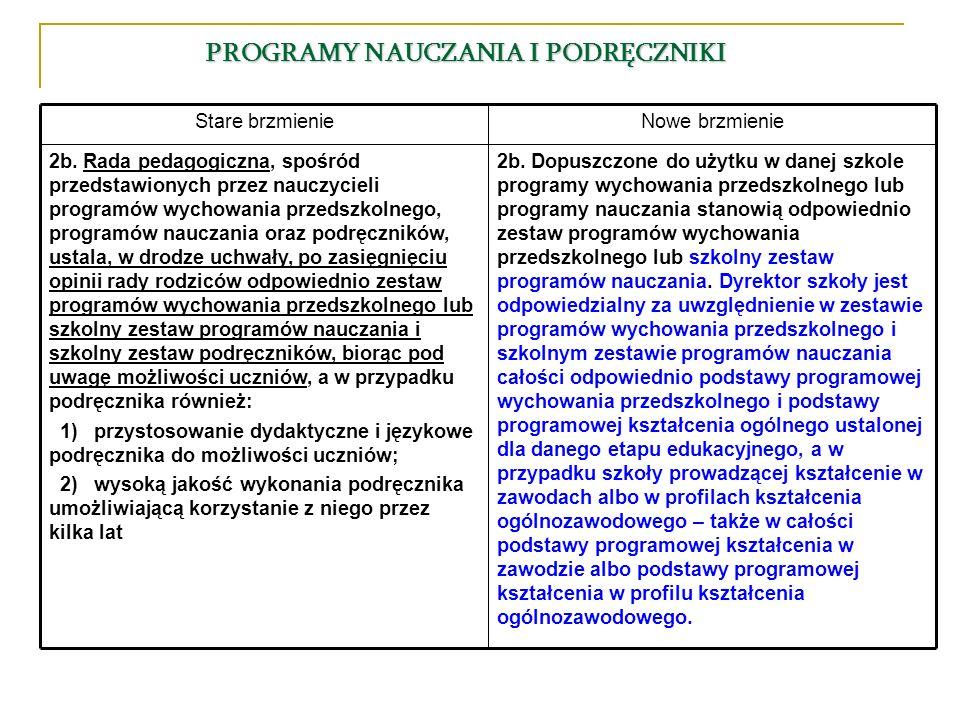 2b. Dopuszczone do użytku w danej szkole programy wychowania przedszkolnego lub programy nauczania stanowią odpowiednio zestaw programów wychowania pr