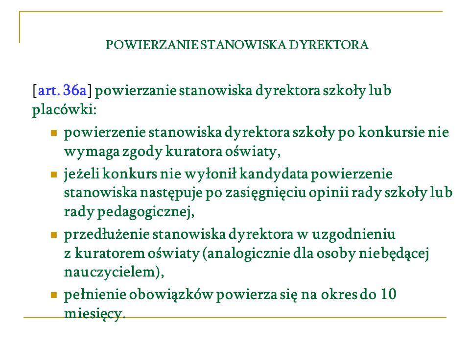 POWIERZANIE STANOWISKA DYREKTORA [art.