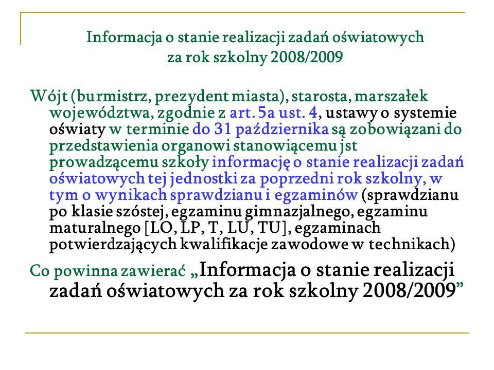 Wójt (burmistrz, prezydent miasta), starosta, marszałek województwa, zgodnie z art. 5a ust. 4, ustawy o systemie oświaty w terminie do 31 października