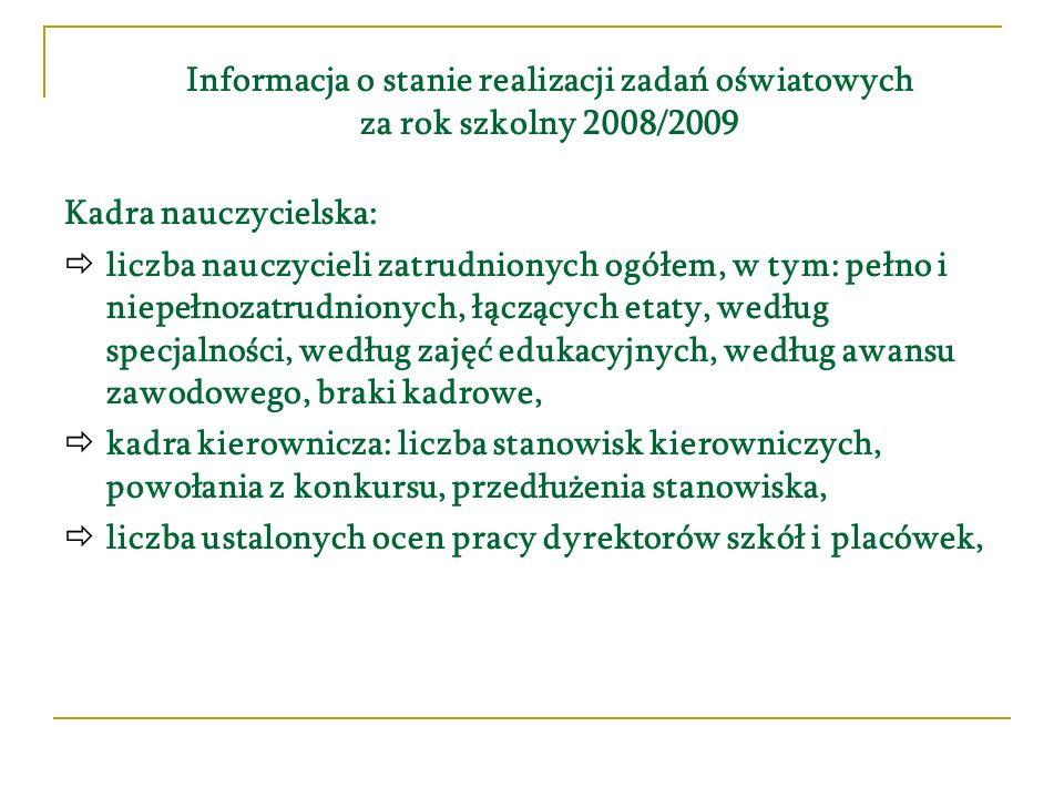 Informacja o stanie realizacji zadań oświatowych za rok szkolny 2008/2009 Kadra nauczycielska: liczba nauczycieli zatrudnionych ogółem, w tym: pełno i