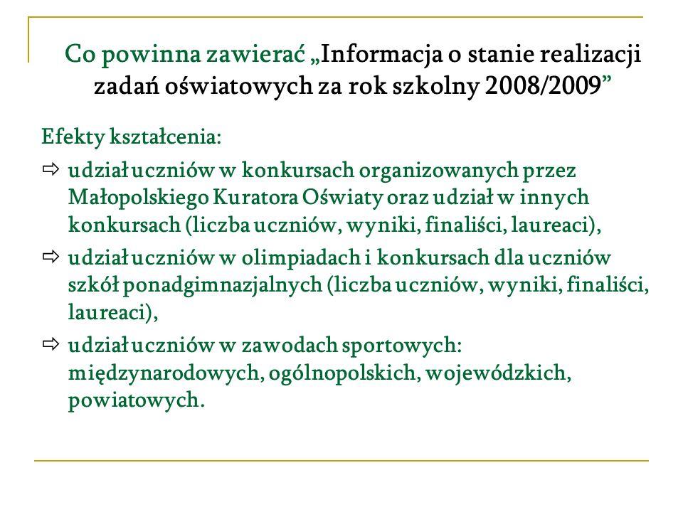 Co powinna zawierać Informacja o stanie realizacji zadań oświatowych za rok szkolny 2008/2009 Efekty kształcenia: udział uczniów w konkursach organizo