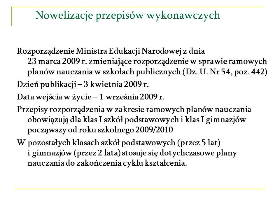 Nowelizacje przepisów wykonawczych Rozporządzenie Ministra Edukacji Narodowej z dnia 23 marca 2009 r. zmieniające rozporządzenie w sprawie ramowych pl