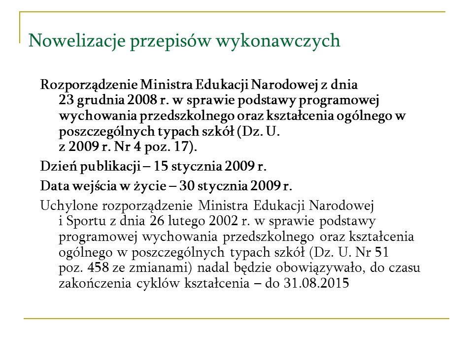 Nowelizacje przepisów wykonawczych Rozporządzenie Ministra Edukacji Narodowej z dnia 23 grudnia 2008 r. w sprawie podstawy programowej wychowania prze