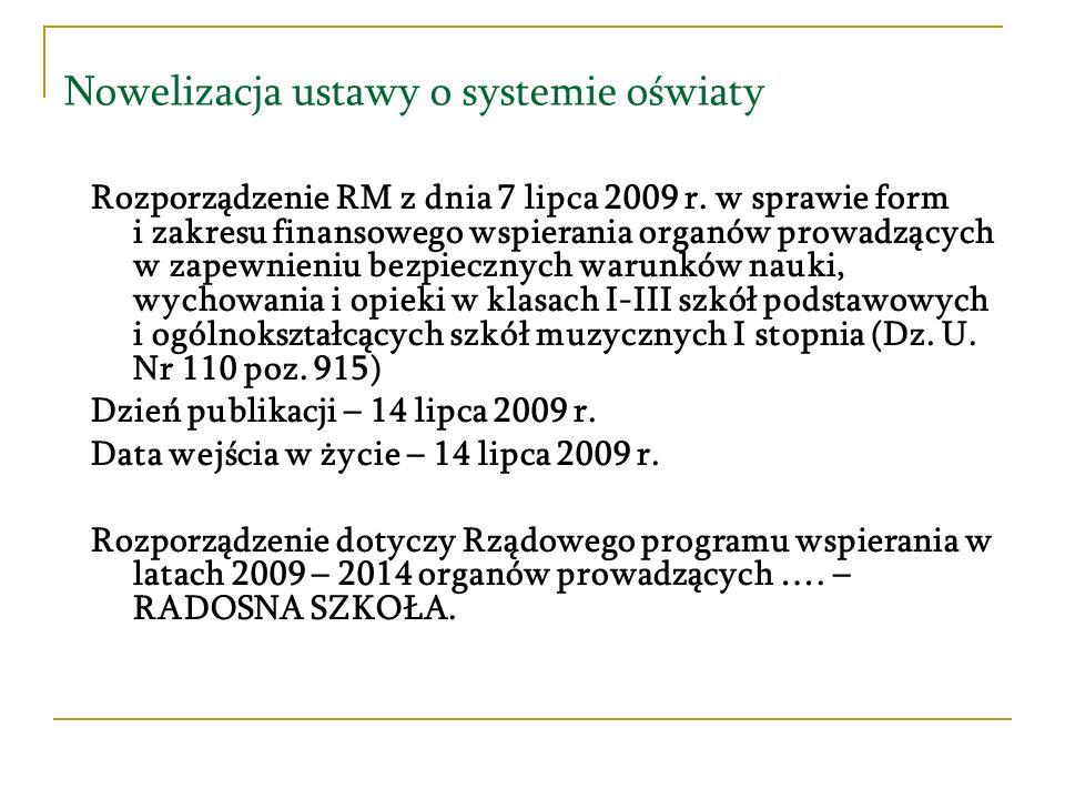 Nowelizacja ustawy o systemie oświaty Rozporządzenie RM z dnia 7 lipca 2009 r. w sprawie form i zakresu finansowego wspierania organów prowadzących w