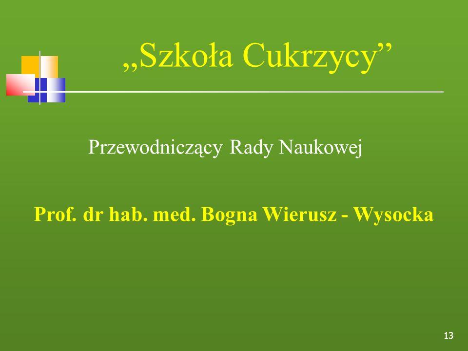 13 Szkoła Cukrzycy Przewodniczący Rady Naukowej Prof. dr hab. med. Bogna Wierusz - Wysocka
