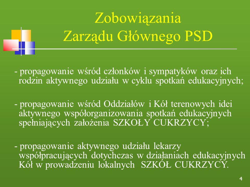 4 Zobowiązania Zarządu Głównego PSD - propagowanie wśród członków i sympatyków oraz ich rodzin aktywnego udziału w cyklu spotkań edukacyjnych; - propa