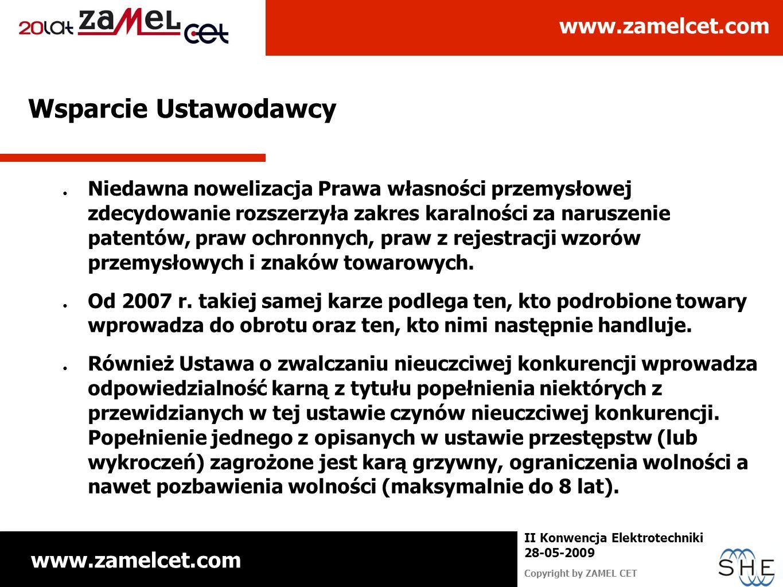 www.zamelcet.com Copyright by ZAMEL CET II Konwencja Elektrotechniki 28-05-2009 Wsparcie Ustawodawcy Niedawna nowelizacja Prawa własności przemysłowej