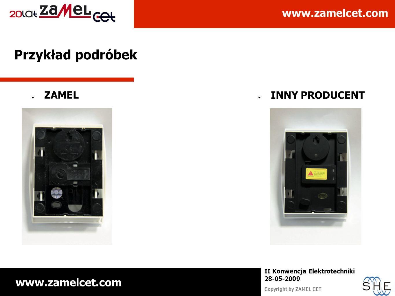www.zamelcet.com Copyright by ZAMEL CET II Konwencja Elektrotechniki 28-05-2009 Przykład podróbek ZAMEL INNY PRODUCENT