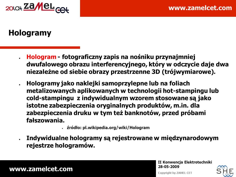 www.zamelcet.com Copyright by ZAMEL CET II Konwencja Elektrotechniki 28-05-2009 Hologramy Hologram - fotograficzny zapis na nośniku przynajmniej dwufa