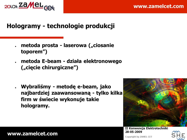 www.zamelcet.com Copyright by ZAMEL CET II Konwencja Elektrotechniki 28-05-2009 Hologramy - technologie produkcji metoda prosta - laserowa (ciosanie t