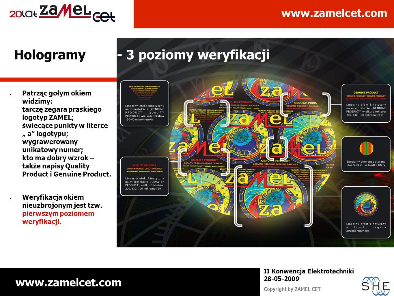 www.zamelcet.com Copyright by ZAMEL CET II Konwencja Elektrotechniki 28-05-2009 Patrząc gołym okiem widzimy: tarczę zegara praskiego logotyp ZAMEL; św