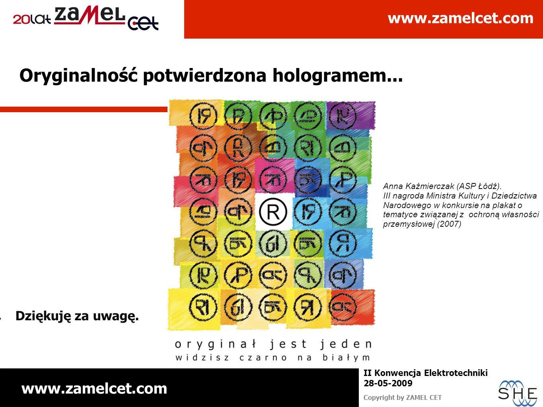 www.zamelcet.com Copyright by ZAMEL CET II Konwencja Elektrotechniki 28-05-2009 Oryginalność potwierdzona hologramem... Dziękuję za uwagę. Anna Kaźmie