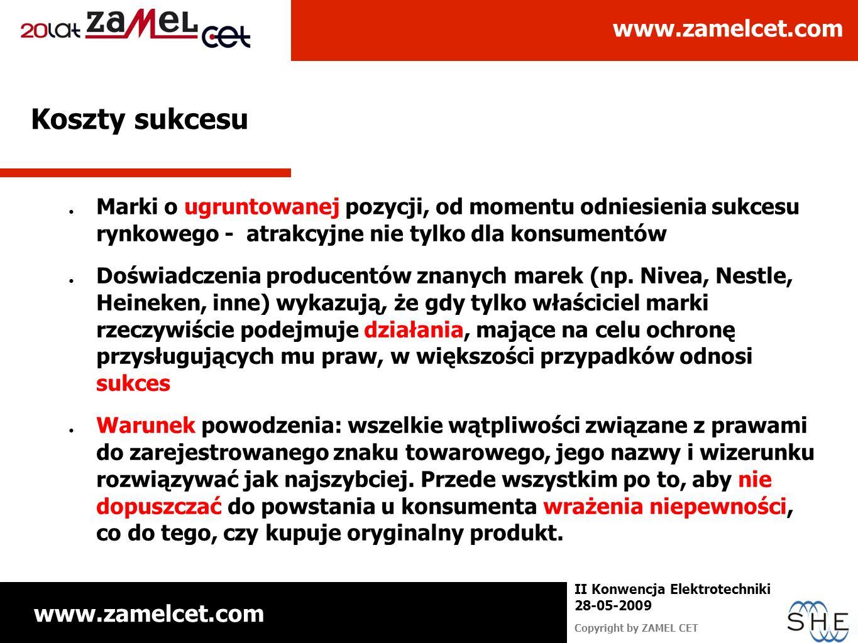 www.zamelcet.com Copyright by ZAMEL CET II Konwencja Elektrotechniki 28-05-2009 Koszty sukcesu Marki o ugruntowanej pozycji, od momentu odniesienia su